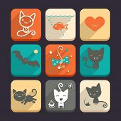Set of cats and animal icons. Part 2