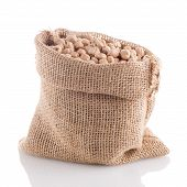 Uncooked Chickpeas On Burlap Bag