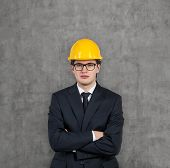 Businessman In Yellow Hard Hat