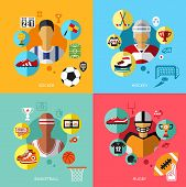 Sports flat set vector illustration