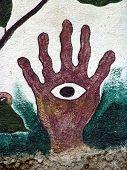 hand with eye mural