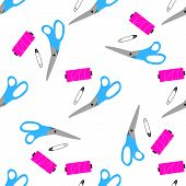 Seamless pattern with scissors, pin, needle