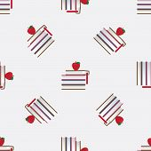 Seamless Pattern With Red Apples And Books