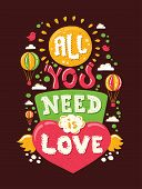 Modern  flat design hipster illustration with phrase All You Need Is Love