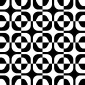 Seamless Square and Hexagon Pattern. Abstract Black and White Background. Vector Regular Texture