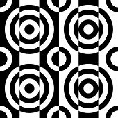 Seamless Circle and Stripe Pattern. Abstract Black and White Background. Vector Regular Texture