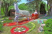 Flower Cars Exhibition At Spivoche Pole  In Kyiv, Ukraine