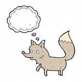 cartoon wolf cub with thought bubble