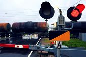 Railway crossing. Tanks with oil.