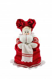 foto of rag-doll  - Russian rag doll with big breasts in red dress isolated on white background - JPG