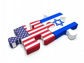 foto of israeli flag  - Puzzle pieces connect a piece containing the US flag and the Israeli flag - JPG