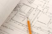 Architectual Plans And Pencil