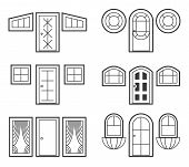 stock photo of front-entry  - Window and door icons set - JPG
