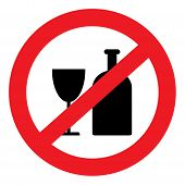image of alcoholic beverage  - Vector round red icon with the image of banning alcohol bottles and glasses - JPG