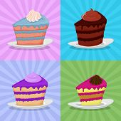 Постер, плакат: Set a piece of cake on a plate Cake on a bright background Strawberry cake Chocolate cake in a re