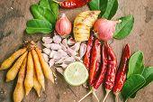 foto of thai food  - Ingredients of Thai spicy food on wooden table - JPG