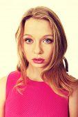 foto of up-skirt  - Beautiful teenage woman with bright make up - JPG