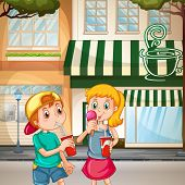 stock photo of gril  - A boy and a gril enjoying drinks and ice cream on the street - JPG