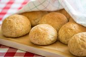 picture of bread rolls  - Freshly baked whole wheat rye bread rolls - JPG