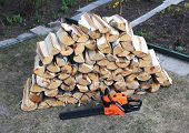 pic of chainsaw  - Stabel of chopped birch wood and a chainsaw in the yard - JPG