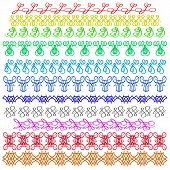 image of stitches  - Set of Colorful Sewing Stitch Isolated on White Background - JPG