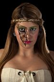 picture of nose ring  - Girl in White with Sparkly Lightning Makeup - JPG