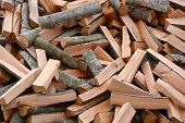 foto of firewood  - Pile of the firewoods - JPG