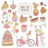picture of fancy cakes  - Sweet vector set in awesome colors - JPG