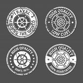 picture of steers  - Set of grunge vintage style sea and summer nautical signs badges and labels - JPG