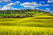 image of medieval  - Tuscany spring Pienza italian medieval village - JPG