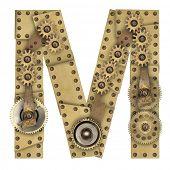 foto of steampunk  - Steampunk mechanical metal alphabet letter M - JPG