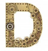 pic of letter d  - Steampunk mechanical metal alphabet letter D - JPG
