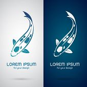 stock photo of koi tattoo  - Vector image of an carp koi design on white background and blue background Logo Symbol - JPG