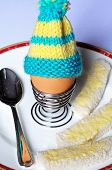picture of coil  - Boiled egg in a coiled metal eggcup topped with a knitted egg cosy on a white plate with white bread soldiers - JPG