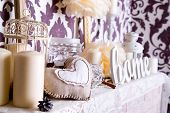 picture of cozy hearth  - Christmas fireplace with accessories - JPG