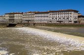 image of dam  - Santa Rosa Weirsmall dam across the Arno River Florence Italy - JPG