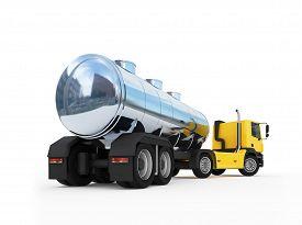 pic of fuel tanker  - 3d illustration of cistern of big orange fuel tanker truck - JPG