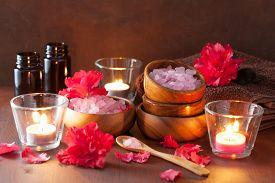 image of azalea  - spa aromatherapy with azalea flowers and herbal salt on rustic dark background - JPG