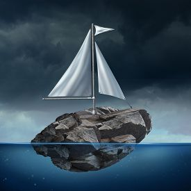 pic of sails  - Sailing problem as a business concept with a sail on a floating heavy rock or boulder moving across the ocean as a potential metaphor for struggle and the power of possibility - JPG