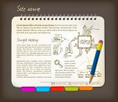 Horizontal web site template - Open notepad with colorful bookmarks