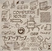 Set of hand-drawn computer icons on crumpled paper (vector)