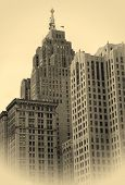 Historic Buildings In Detroit Downtown poster