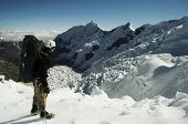 Climber standing on the glacier