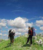 People going ap in Crimea mountain