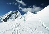 Snowcovered mount peak in Cordilleras