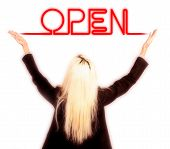 Blonde Business Woman Holding Neon Open Sign In The Air