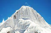 Beautiful peak Alpamayo in the Cordilleras
