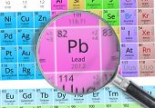 Постер, плакат: Lead Element Of Mendeleev Periodic Table Magnified With Magnif