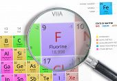 Постер, плакат: Fluorine Element Of Mendeleev Periodic Table Magnified With Ma