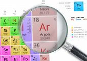 Постер, плакат: Argon Element Of Mendeleev Periodic Table Magnified With Magni